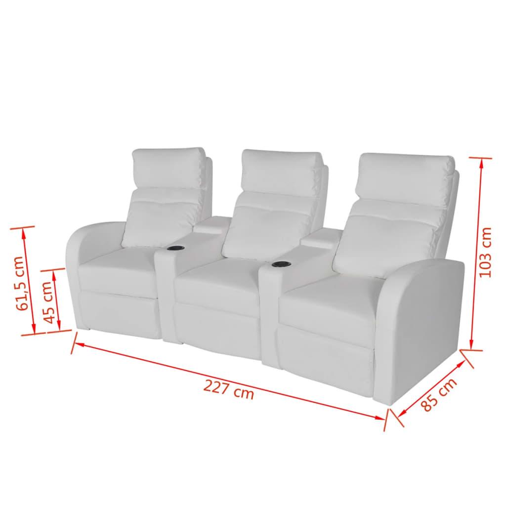acheter vidaxl fauteuil inclinable deux pi ces 2 3 places cuir artificiel blanc pas cher. Black Bedroom Furniture Sets. Home Design Ideas