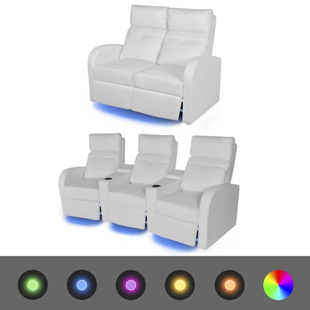 vidaXL 2 db dönthető támlájú LED-es műbőr fotel 2+3 személyes fehér