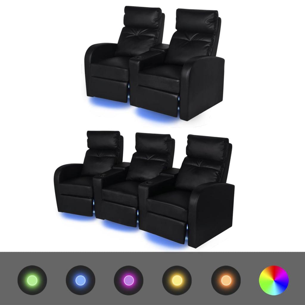 vidaXL Fotele kinowe 2 + 3 osobowe, czarna, sztuczna skóra z podświetleniem LED