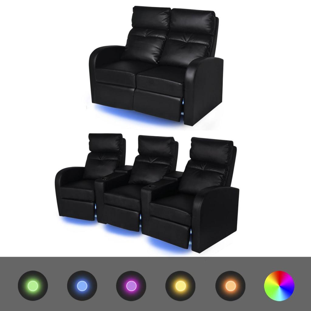 vidaXL Fotele kinowe 2 + 3 osobowe, z podświetleniem LED, czarna, sztuczna skóra
