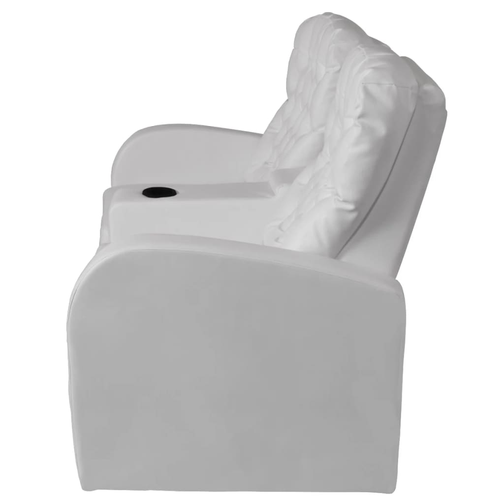 acheter vidaxl fauteuil inclinable deux pi ces 2 3 places cuir artificiel blanc pas cher. Black Bedroom Furniture Sets. Home Design Ideas
