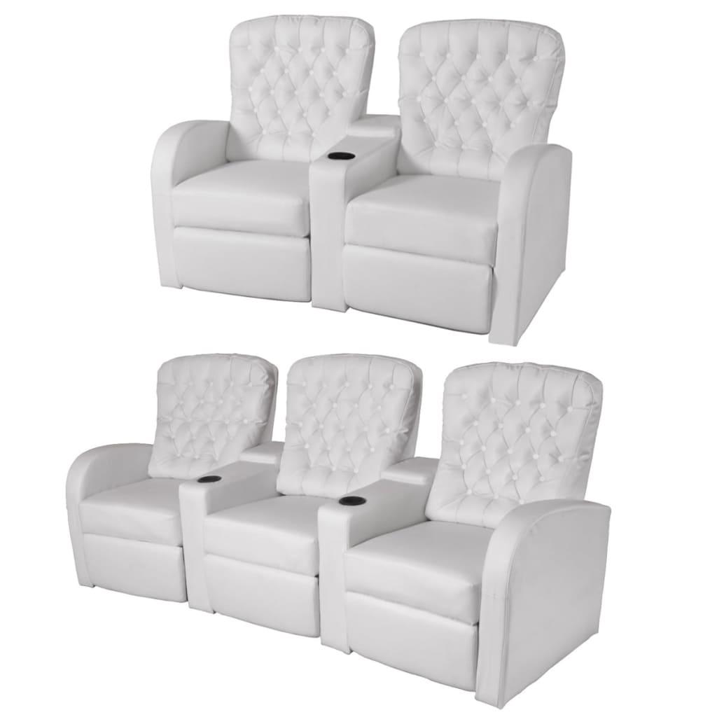 vidaXL Fotele kinowe 2 + 3 osobowe, sztuczna skóra, biała