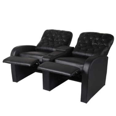 acheter vidaxl fauteuil inclinable deux pi ces 2 3 places cuir artificiel noir pas cher. Black Bedroom Furniture Sets. Home Design Ideas