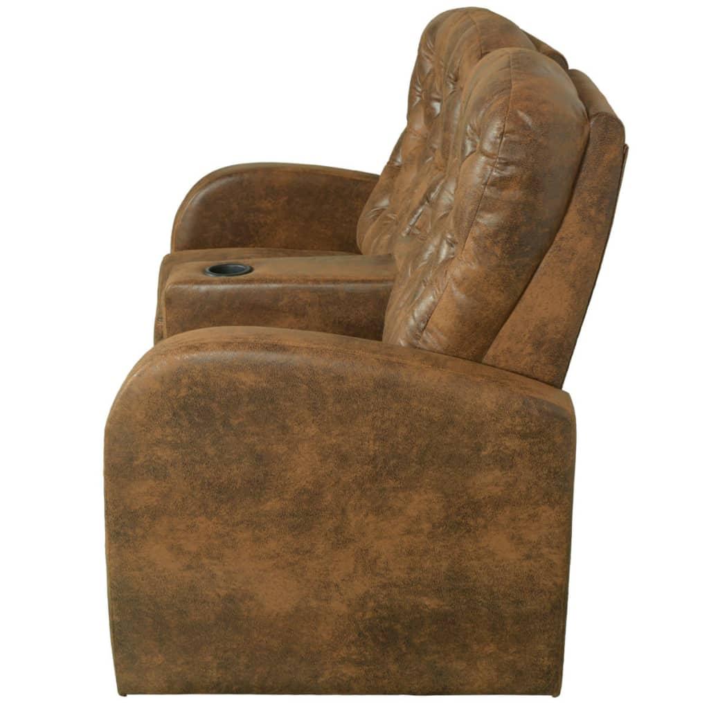 acheter vidaxl fauteuil inclinable deux pi ces 2 3 places cuir artificiel marron pas cher. Black Bedroom Furniture Sets. Home Design Ideas