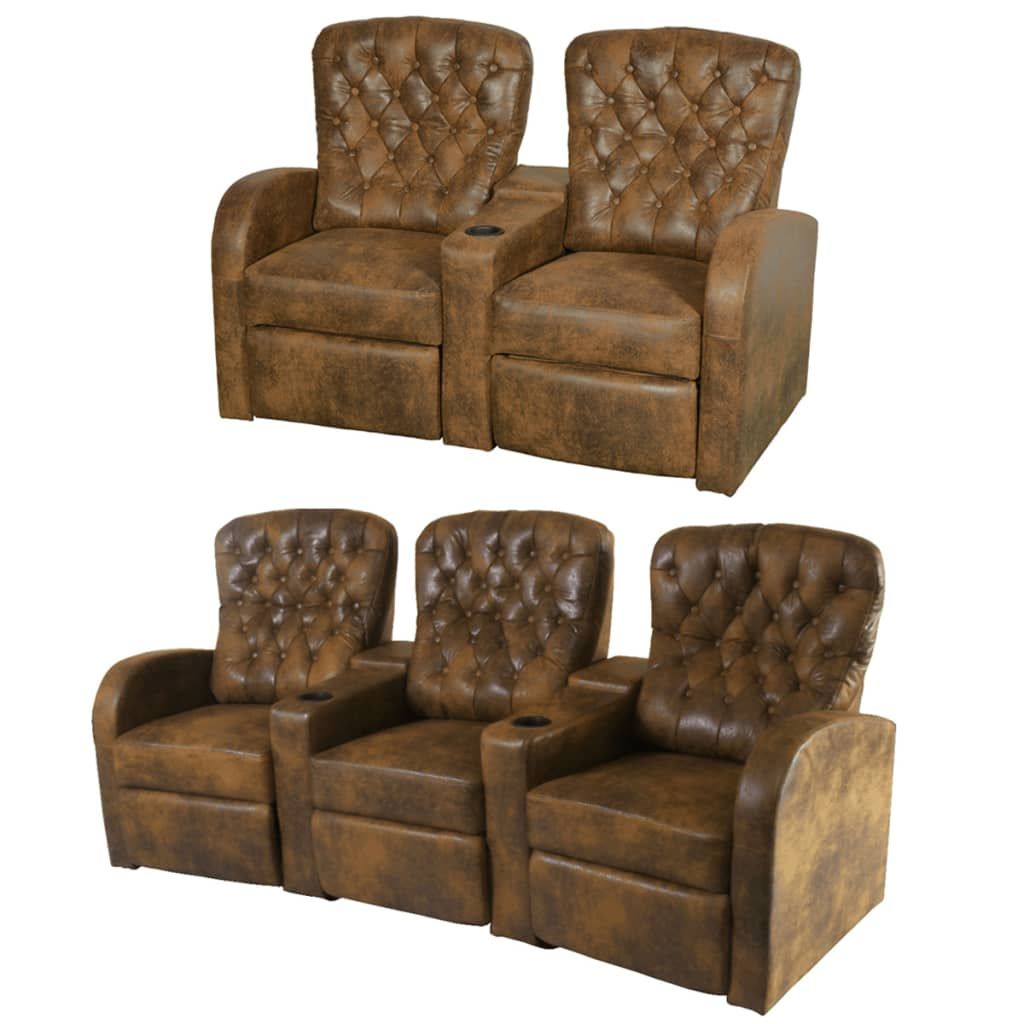 acheter vidaxl fauteuil inclinable deux pi ces 2 3 places cuir artificiel marron pas cher. Black Bedroom Furniture Sets. Home Design Ideas