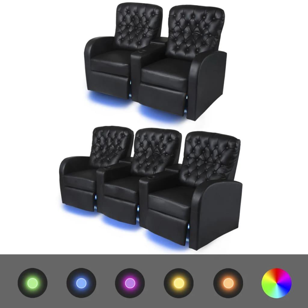 vidaXL 2 db dönthető támlájú LED-es műbőr fotel 2+3 személyes fekete