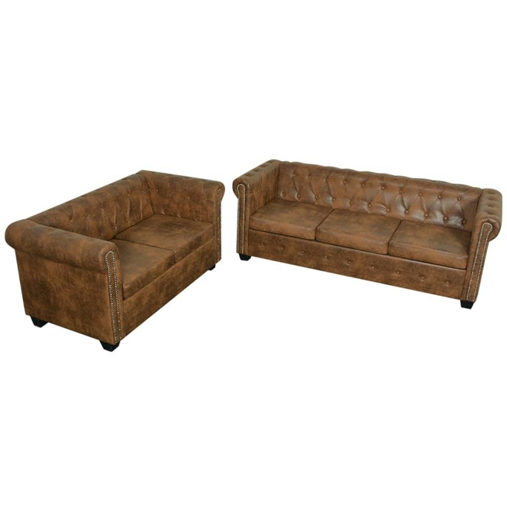 vidaXL 2 és 3 személyes Chesterfield kanapé szett barna