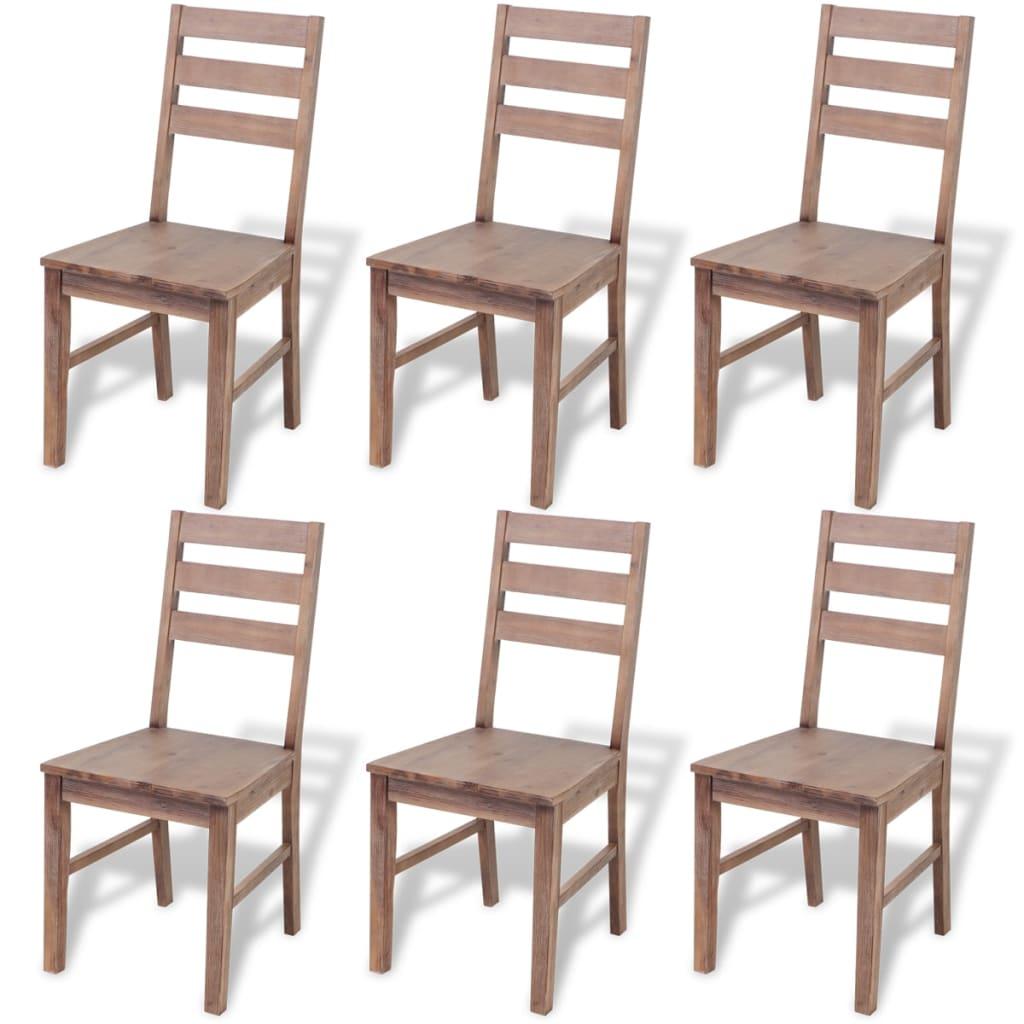 vidaXL Krzesła do jadalni z drewna akacjowego, 6 szt., 42x49x90 cm