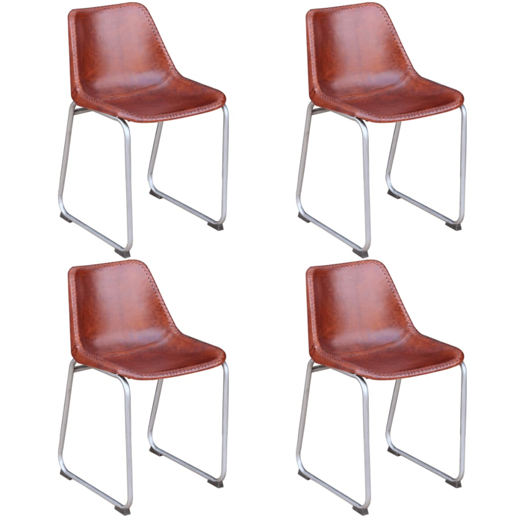 Vidaxl sillas de comedor 4 unidades cuero real marr n for Sillas de comedor de cuero