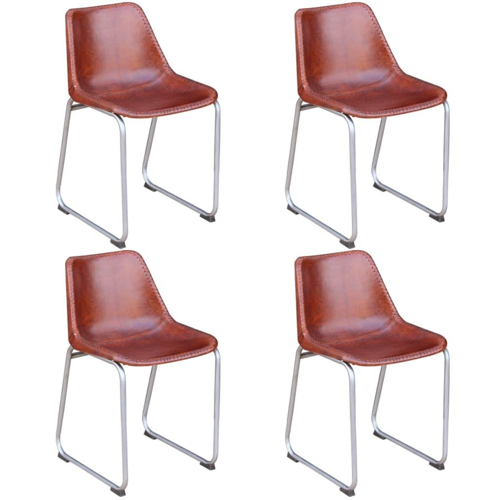 Acheter vidaxl 4 chaises de salle manger cuir v ritable for Chaises cuir marron salle manger