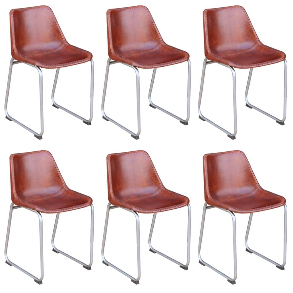 vidaXL Krzesła do jadalni 6 szt. prawdziwa skóra, brązowe