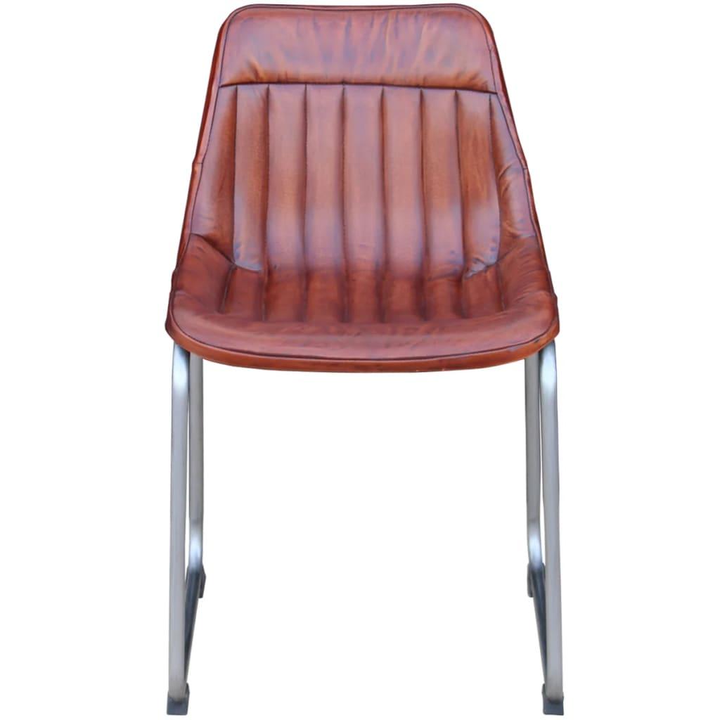 Vidaxl sillas de comedor 6 unidades cuero real con tiras for Sillas de cuero para comedor