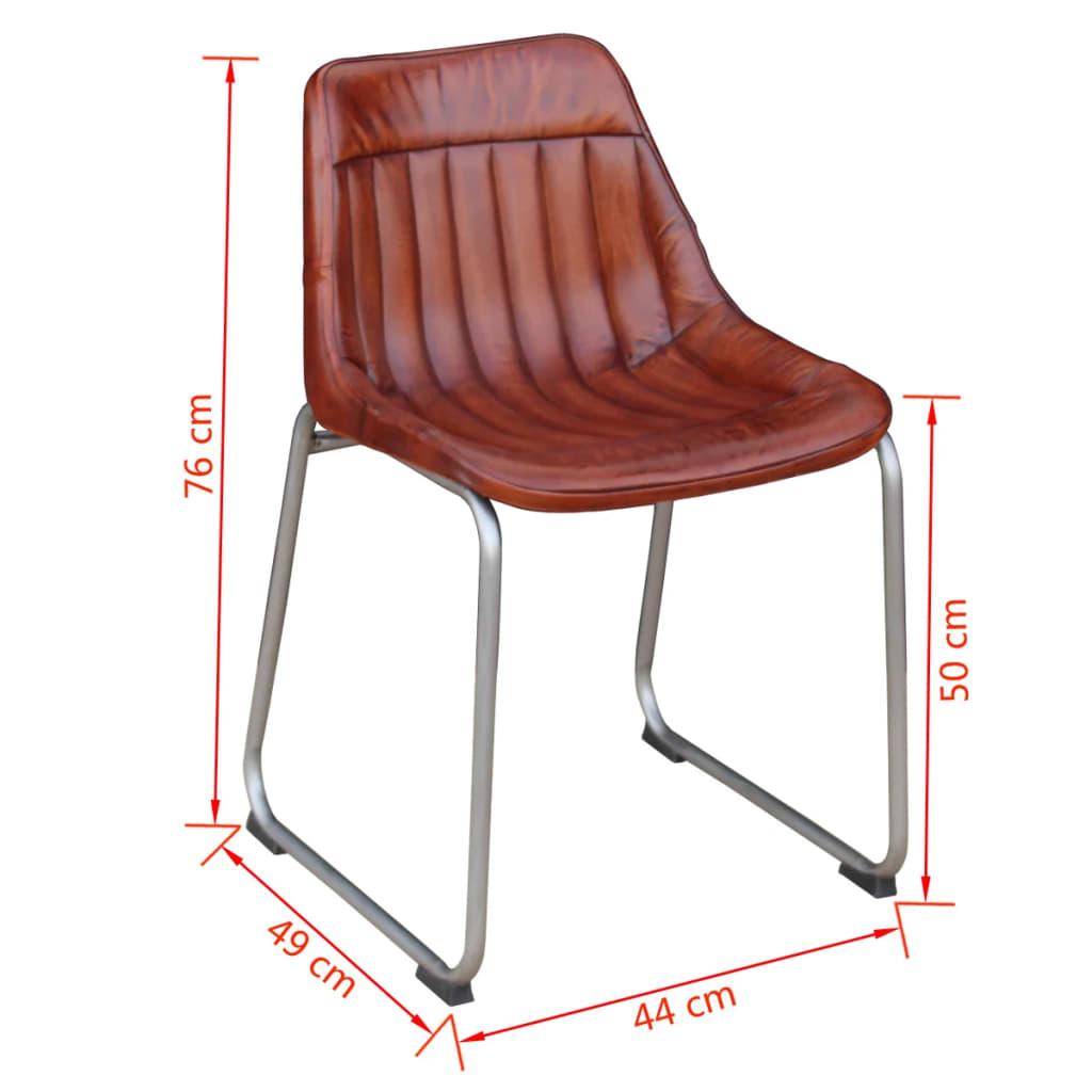 Acheter vidaxl 6 chaises de salle a manger cuir veritable for Meuble salle À manger avec acheter chaise salle manger pas cher