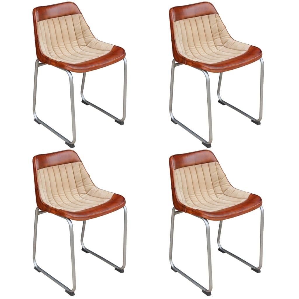 vidaXL Krzesła do jadalni 4 szt. prawdziwa skóra i płótno, brąz beż