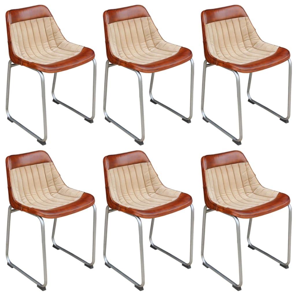 vidaXL Krzesła do jadalni 6 szt. prawdziwa skóra i płótno, brąz beż