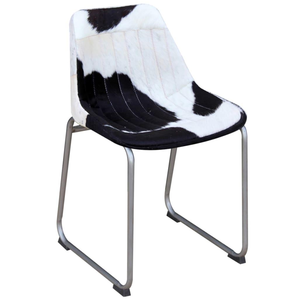 Vidaxl sillas de comedor 4 unids cuero real vacuno negro y blanco - Vidaxl sillas ...