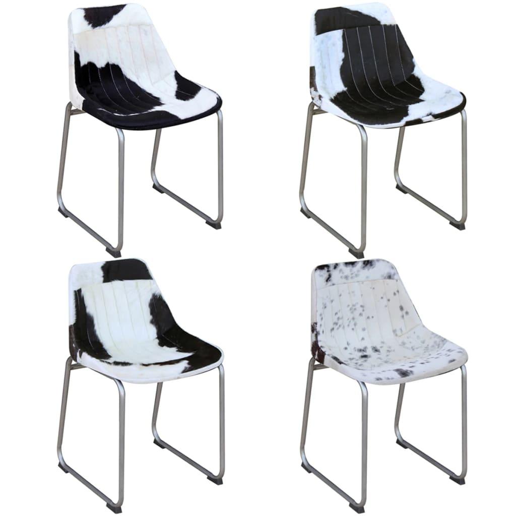 Acheter vidaxl chaises de salle manger 4 pi ces en vrai for Chaise de salle a manger noir et blanc