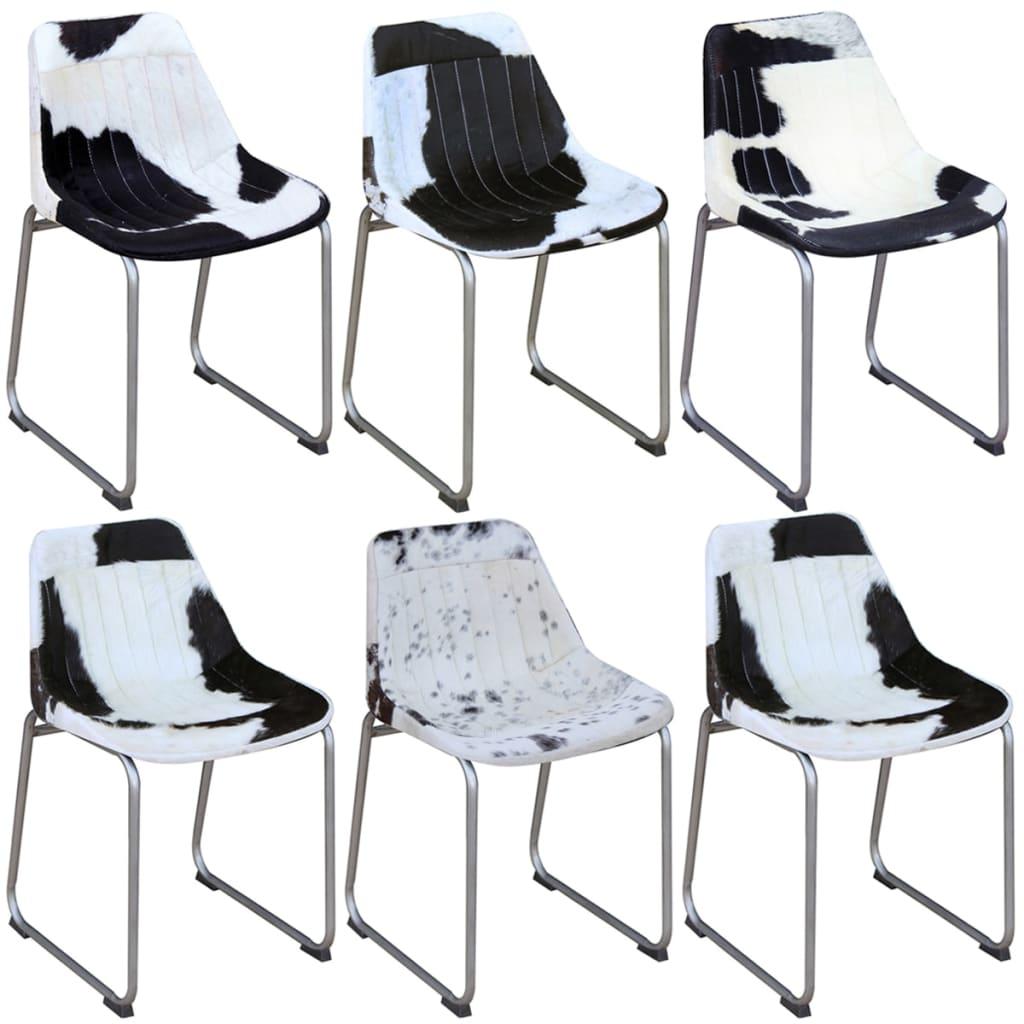 Vidaxl chaises de salle manger 6 pi ces en vrai cuir for Salle a manger en solde