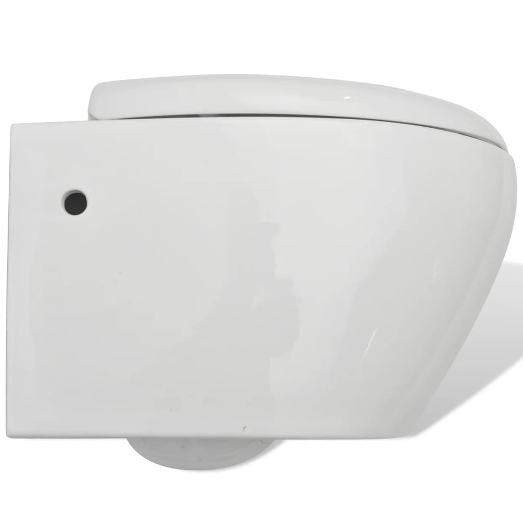 vidaxl h nge toilette mit einbau sp lkasten keramik wei. Black Bedroom Furniture Sets. Home Design Ideas