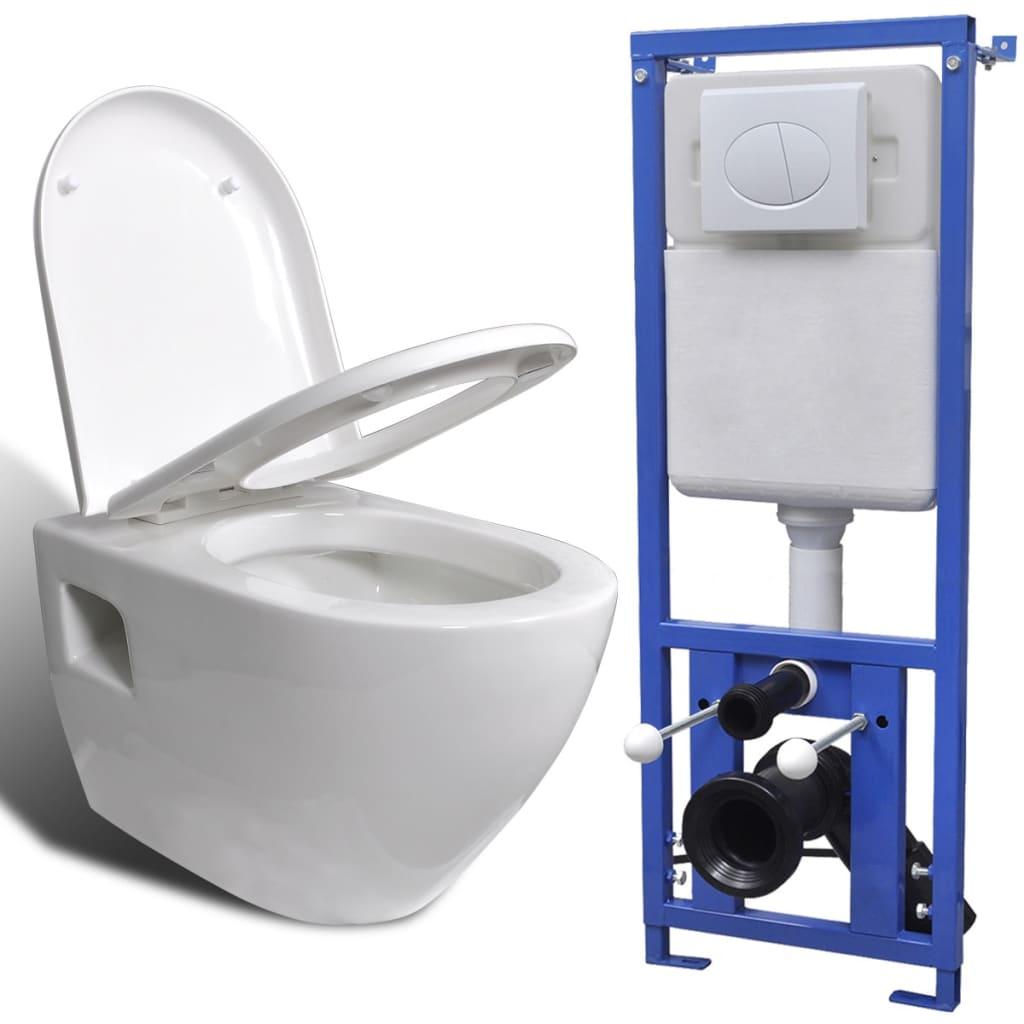 Afbeelding van vidaXL Hangend toilet met stortbak keramisch wit