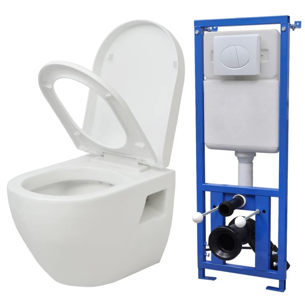 vidaXL falra szerelhető WC öblítőtartállyal kerámia fehér