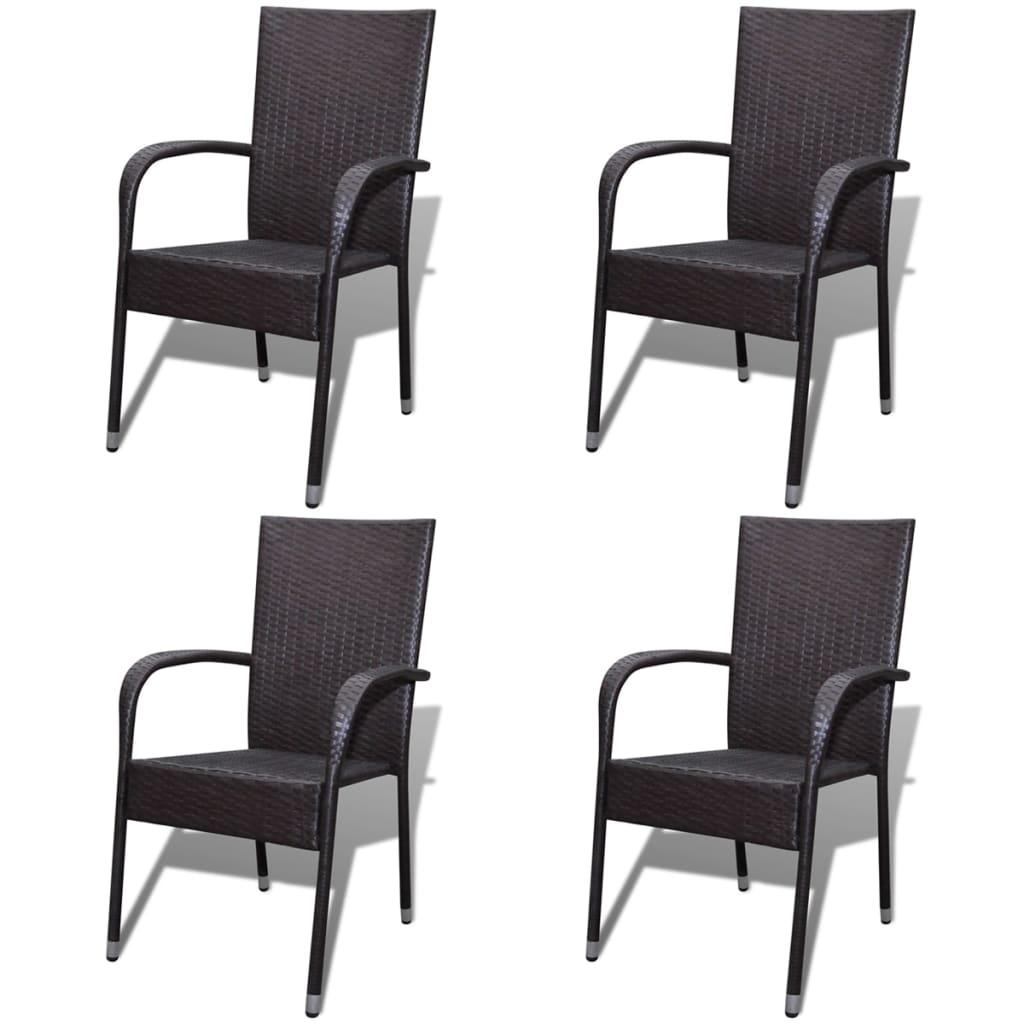 Vidaxl sillas de comedor de jard n 4 unidades poli rat n for Sillas comedor marron
