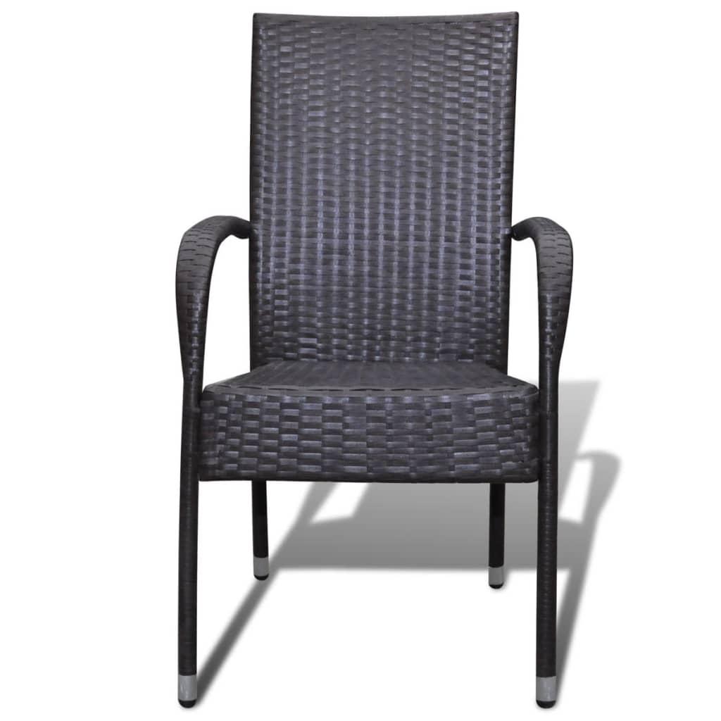 acheter vidaxl chaise de jardin 6 pcs rotin synth tique marron pas cher. Black Bedroom Furniture Sets. Home Design Ideas