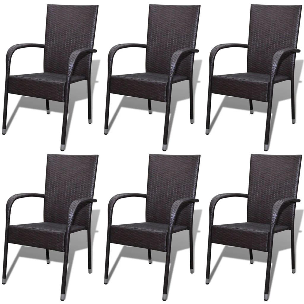 Vidaxl sillas de comedor de jard n 6 unidades poli rat n for Sillas comedor jardin