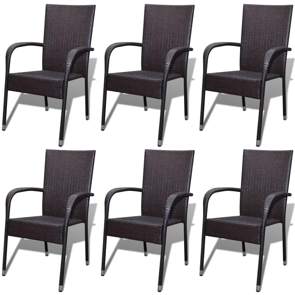 Acheter vidaxl chaise de jardin 6 pcs rotin synth tique - Meuble de jardin rotin synthetique ...
