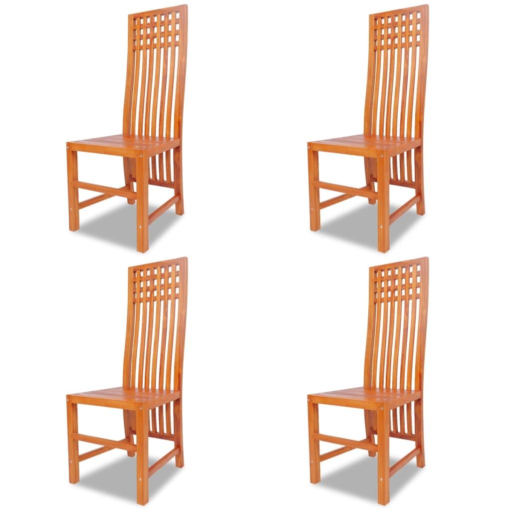 Vidaxl sedie sala da pranzo 4 pz in legno massello di teak for Sedie sala pranzo legno