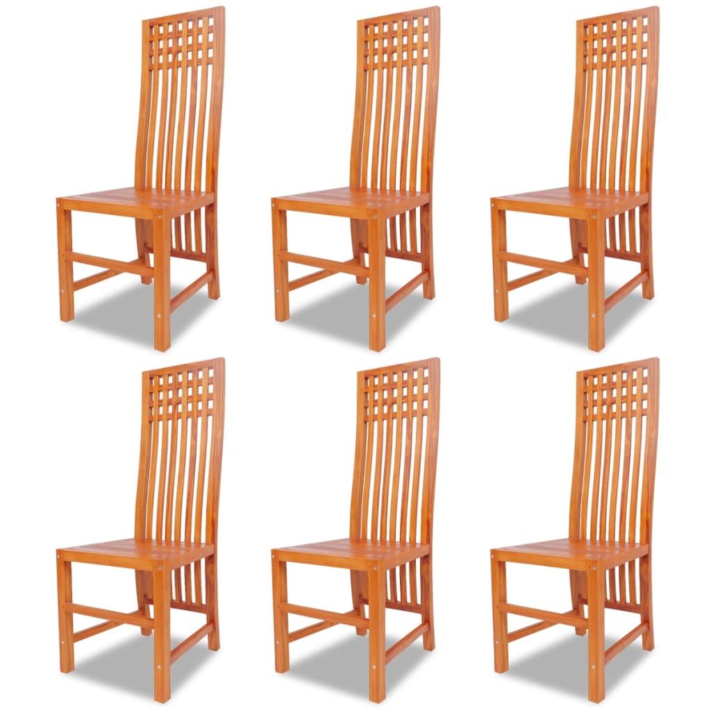 Vidaxl sillas de comedor 6 unidades madera maciza de teca for Comedor de madera 6 sillas