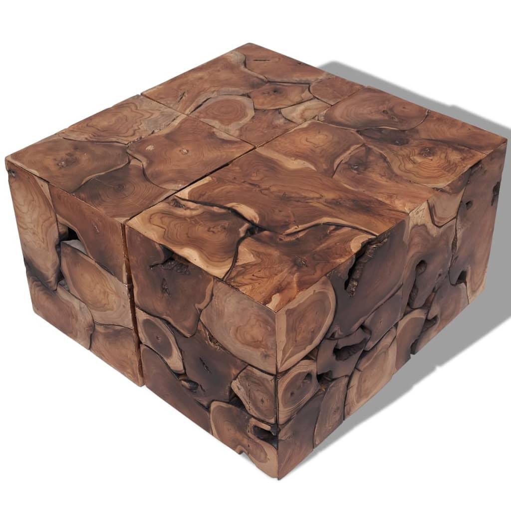 vidaXL 60 cm tömör tikfa dohányzóasztal / zsámoly