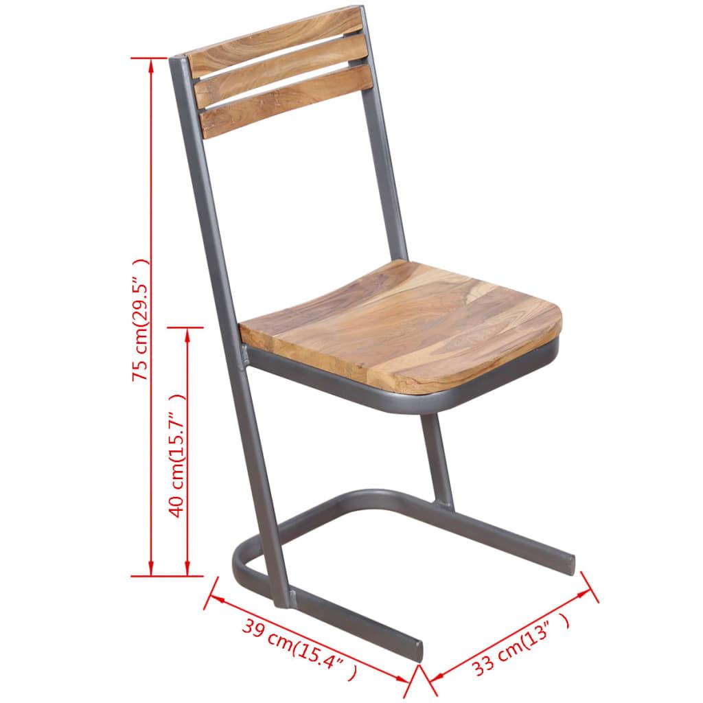 Vidaxl sillas de comedor 4 unidades madera maciza de teca for Comedor 4 sillas madera