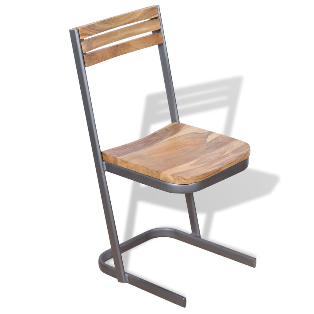 Acheter vidaxl chaises de salle manger 4 pi ces bois de for Salle a manger bois massif pas cher