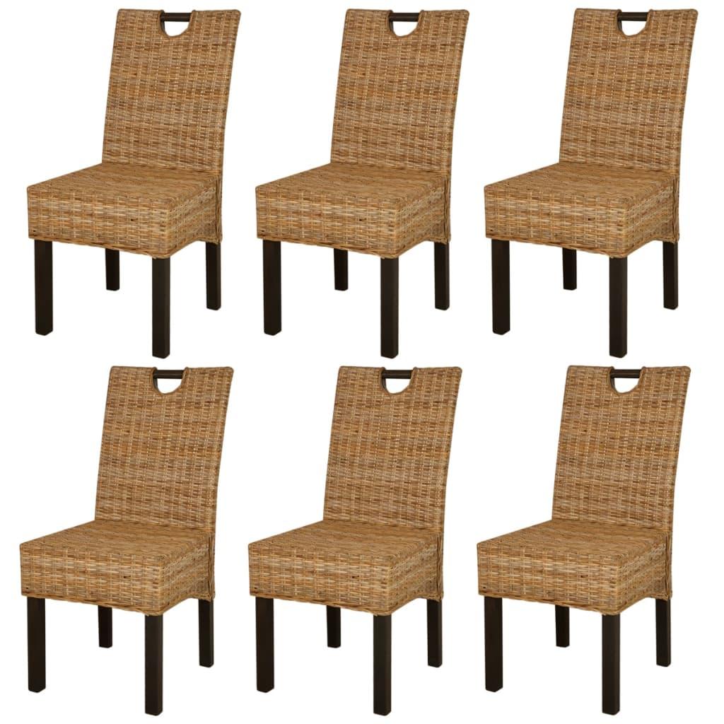 vidaXL Krzesła do jadalni z rattanu Kubu i drewna mango, 6 sztuk
