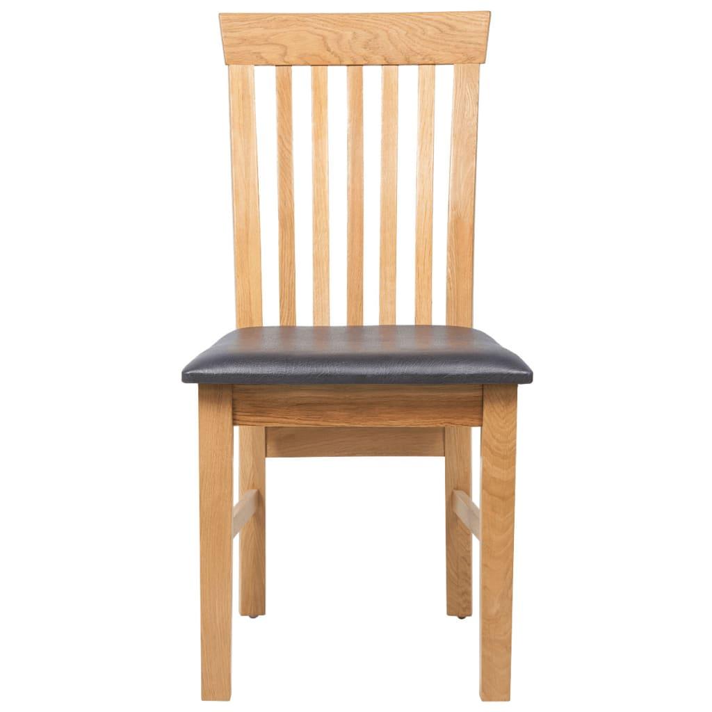 Vidaxl oak wood dining chairs 6pcs artificial leather for Wood leather dining chairs