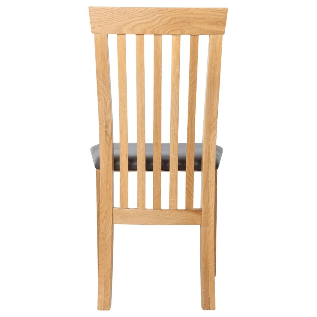 Vidaxl Oak Wood Dining Chairs 6pcs Artificial Leather