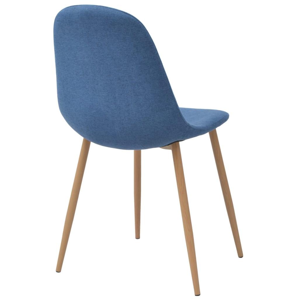Vidaxl sillas de comedor 6 unidades tela azul for Sillas de tela comedor
