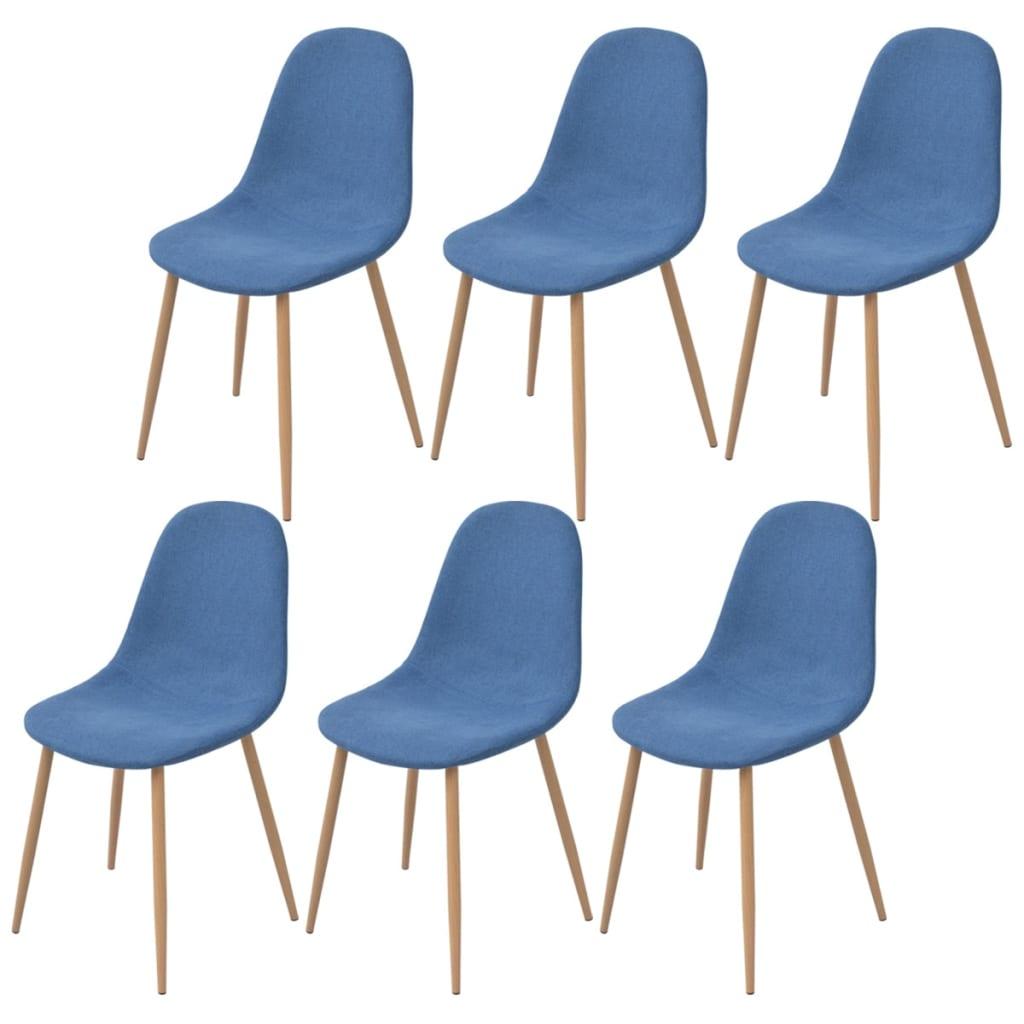 vidaXL 6 db kék szövetű étkezőszék
