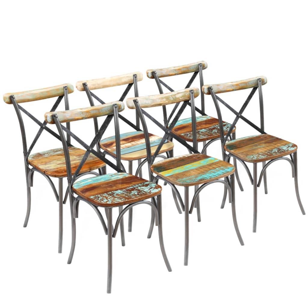 vidaXL 6 db tömör újrahasznosított fa étkezőszék 51x52x84 cm