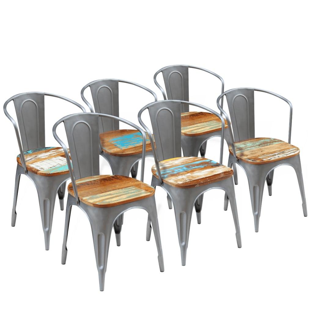 Vidaxl 6 pz sedie sala da pranzo legno massello riciclato for Sedie da sala pranzo