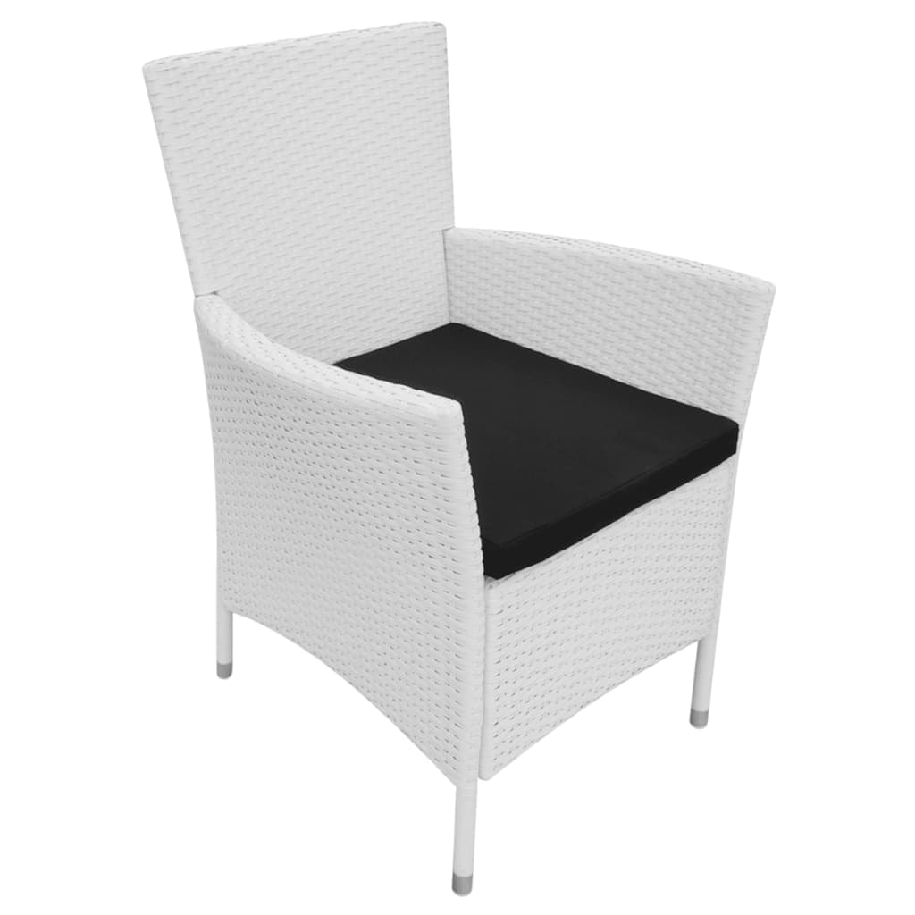 acheter vidaxl chaises de jardin 4 pcs rotin synth tique blanc cr me pas cher. Black Bedroom Furniture Sets. Home Design Ideas
