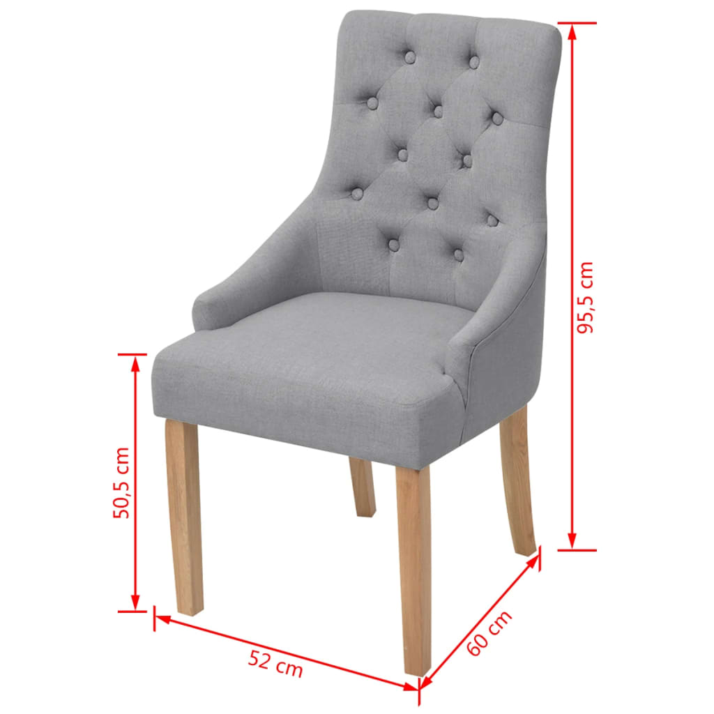 vidaxl eichenholz esszimmerst hle 6 stk stoff hellgrau. Black Bedroom Furniture Sets. Home Design Ideas