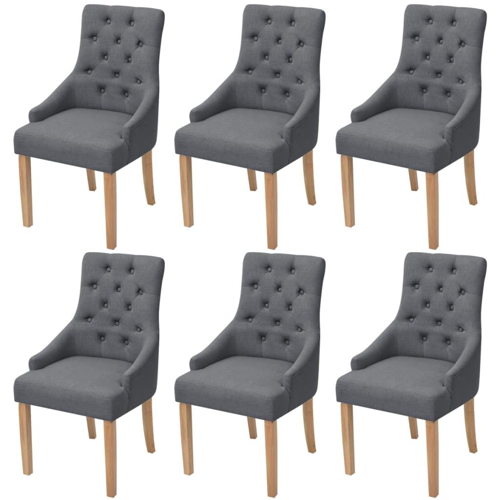 Acheter vidaxl chaises de salle manger 6 pcs bois de ch ne tissu gris fonc pas cher - Chaises salle a manger bois ...