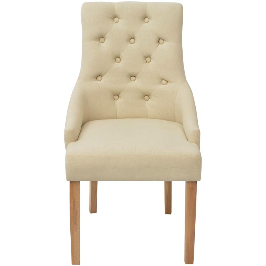 Vidaxl sedie da pranzo in rovere 6 pezzi in tessuto crema for Sedie a buon prezzo