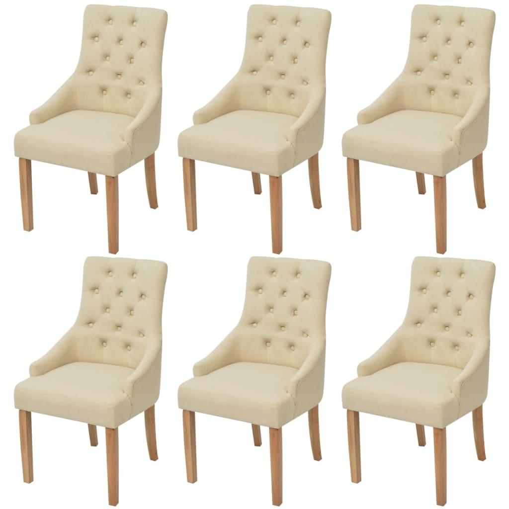Vidaxl sillas de comedor de roble 6 unidades tela crema for Sillas de tela comedor