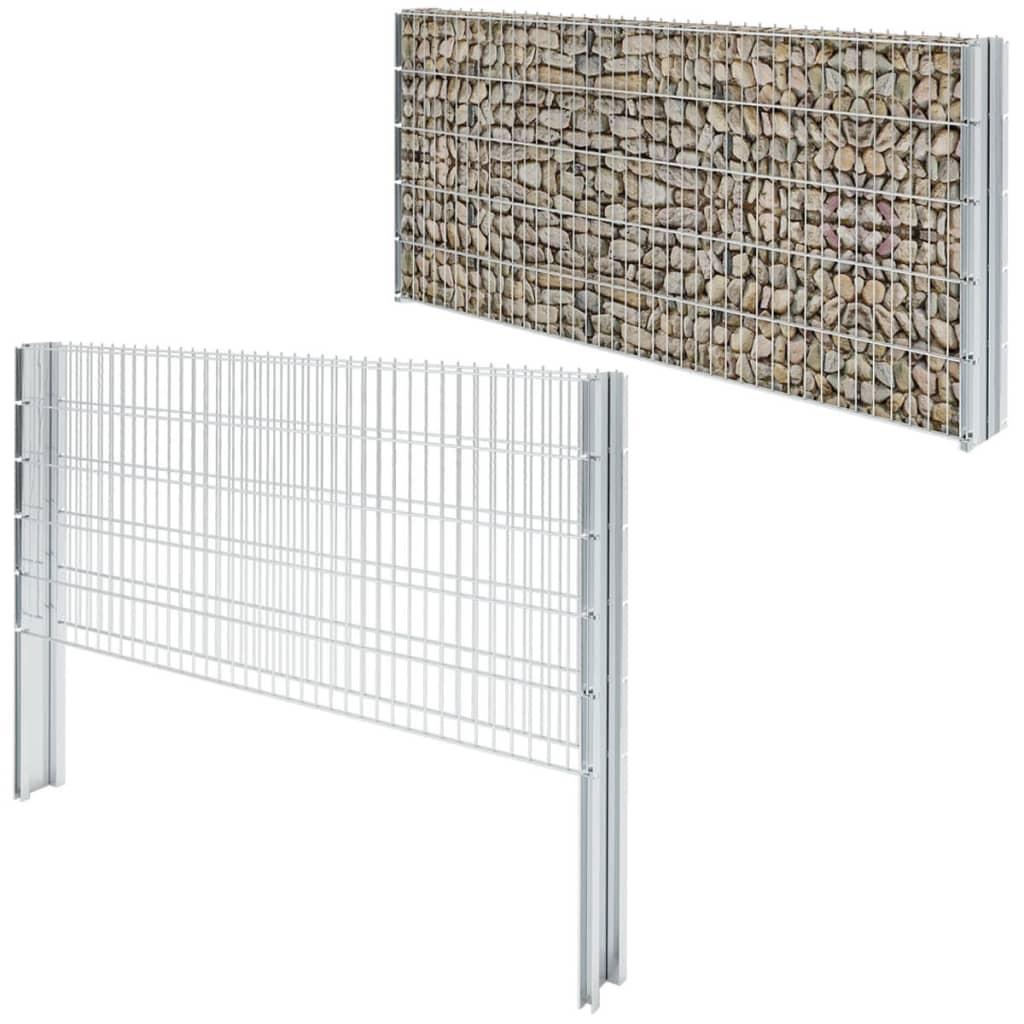vidaXL-2D-Gabion-Fence-Set-2008x1030-mm-20-m-Galvanised-Garden-Stone-Barrier