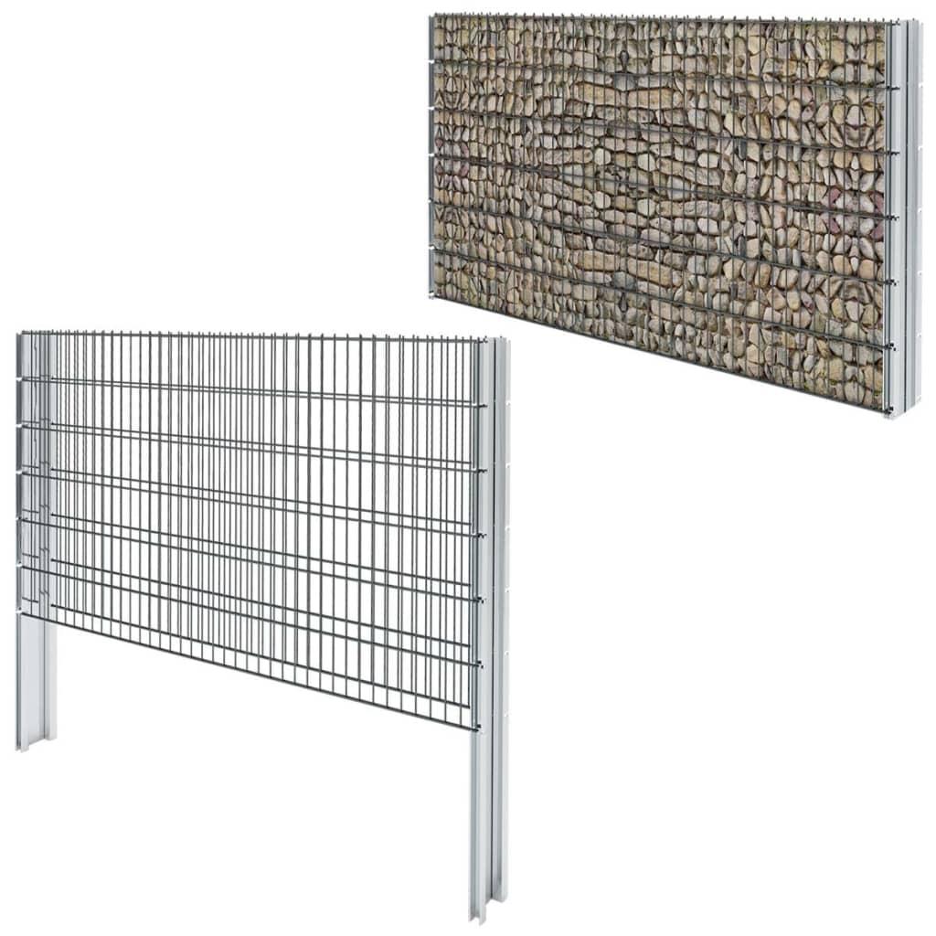 vidaXL-2D-Gabion-Fence-Set-2008x1230-mm-16-m-Grey-Garden-Stone-Barrier-Mesh-Wall