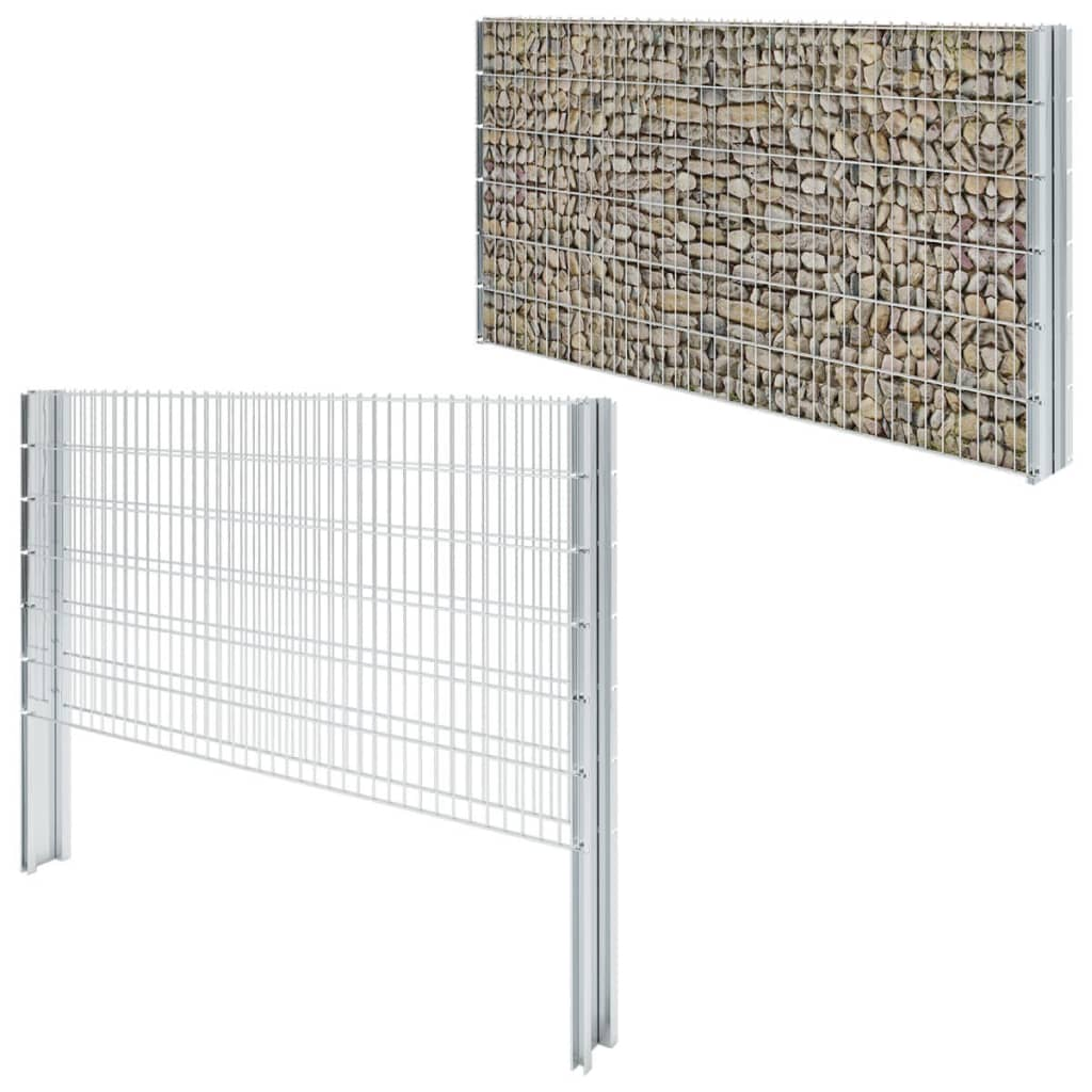 vidaXL-2D-Ensemble-de-Cloture-de-Gabion-2008x1230-mm-6-m-Galvanise-Jardin-Patio