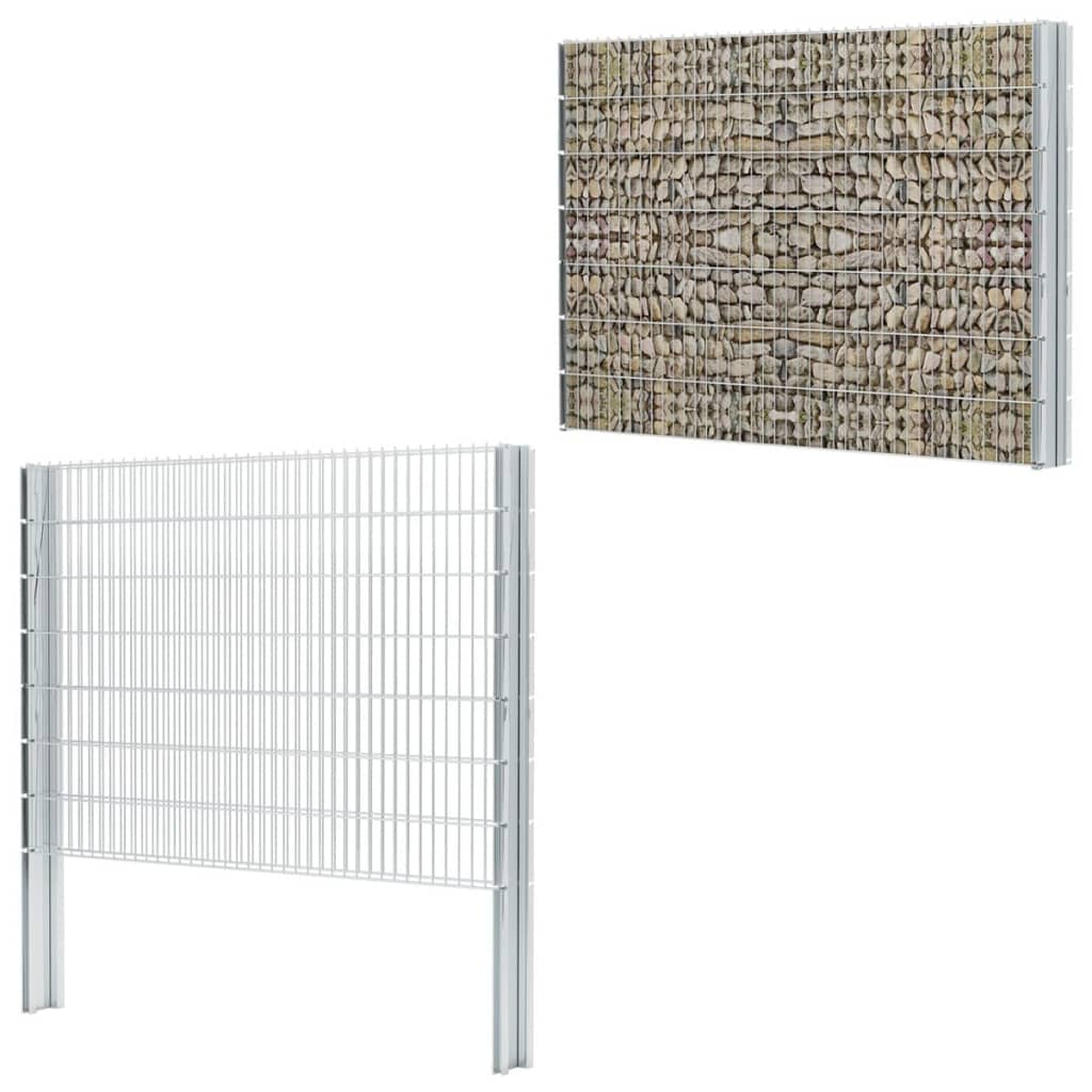 vidaXL-2D-Gabion-Fence-Set-2008x1430-mm-8-m-Galvanised-Garden-Stone-Barrier-Wall